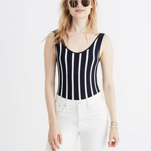 Madewell navy white striped body suit